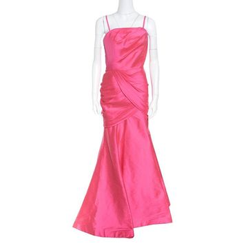 ML by Monique Lhuillier Pink Draped Strapless Faille Gown L