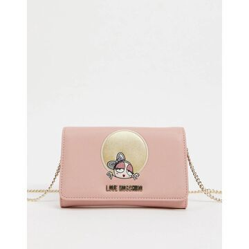 Love Moschino look at me wallet with chain strap in light pink