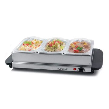 NutriChef 3 Tray Buffet Server & Hot Plate Food Warmer | Tabletop Electric...