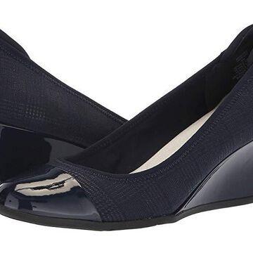 Anne Klein Sport Taite Wedge Heel (Navy) Women's Shoes
