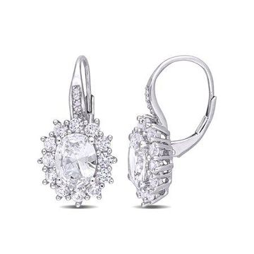 8 Carat T.G.W. Created White Sapphire and Diamond-Accent Sterling Silver Halo Earrings