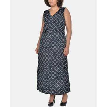 Plus Size Printed Wrap-Front Maxi Dress