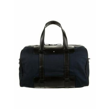Woven Leather-Trimmed Briefcase Blue