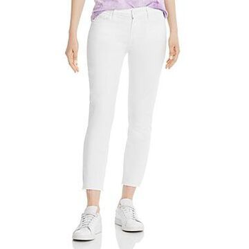 Paige Skyline Crop Skinny Raw-Hem Jeans in Lived In Crisp White