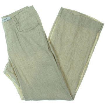 Foxcroft Womens Lightweight Flare Leg Linen Pants