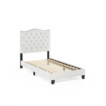 Furinno Abbyson Button Tufted Bed Frame, Linen, Twin