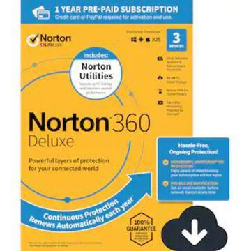 Norton 360 Deluxe for 3 Devices, Windows/Mac/Android/iOS, Download (21392049) | Quill
