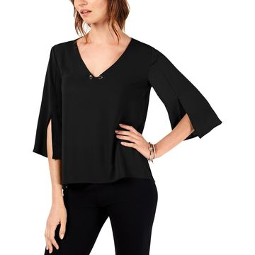 NY Collection Womens V-Neck Dressy Blouse