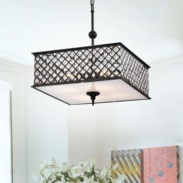 Warehouse of Tiffany Donea Antique Copper 4-light Chandelier with Crystals