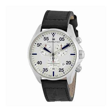 Hamilton Men's H76712751 'Khaki Pilot' Chronograph Black Leather Watch