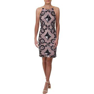 Aidan Mattox Womens Cocktail Dress Sleeveless Sequined