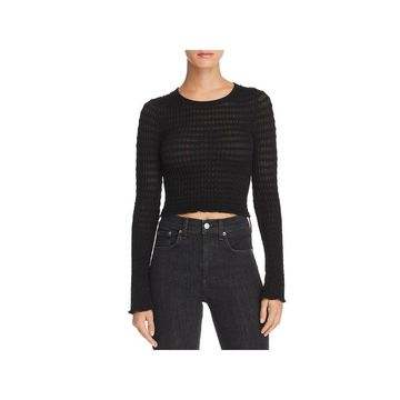 T by Alexander Wang Womens Crop Top Sheer Textured