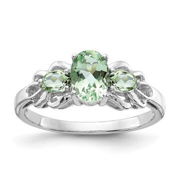Sterling Silver Rhodium-plated Green Quartz Polished Ring by Versil (6)