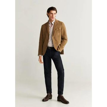 MANGO MAN - Slim fit striped cotton shirt beige - S - Men