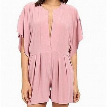 Norma Kamali Pink Womens Size Small S V-Neck Flutter Sleeve Romper