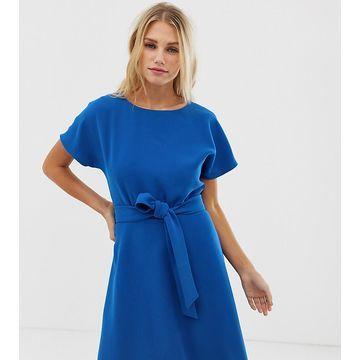 Esprit tie waist shift dress in blue