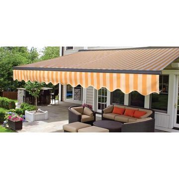 ALEKO Motorized Half Cassette Retractable Patio Awning 12x10 ft Multi-Striped Yellow Color (Multi Yellow)