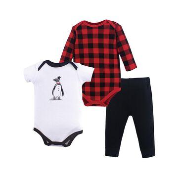 Hudson Baby Boys' Infant Bodysuits Penguin - White Penguin Three-Piece Bodysuit Set - Newborn & Infant