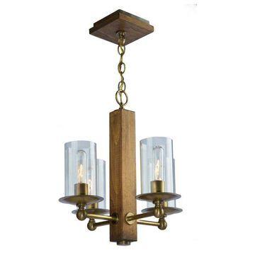 Legno Rustico 4-Light Burnished Brass Chandelier