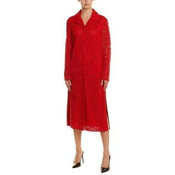 Akris Womens Silk-Lined Suede-Trim Coatdress