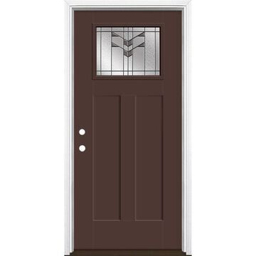 Masonite Frontier 36-in x 80-in Fiberglass Craftsman Right-Hand Inswing Chocolate Painted Prehung Single Front Door with Brickmould in Brown