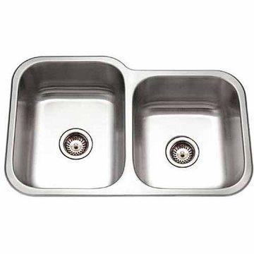 Houzer EC-3208SR-1 Elite Series Undermount Stainless Steel 60/40 Double Bowl Kitchen Sink, Small Bowl Right