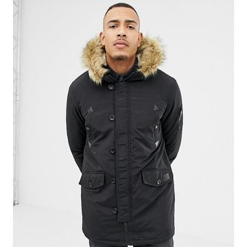 Brave Soul TALL Parka Jacket with Faux Fur Trim Hood