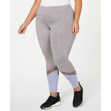 Plus Size Colorblocked Mesh-Trimmed Ankle Leggings, Created for Macy's
