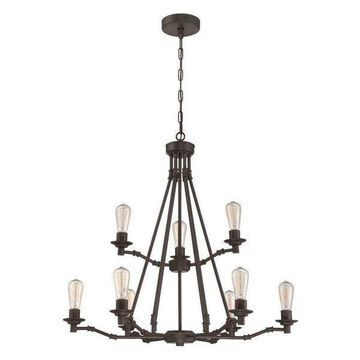 Jeremiah Lighting 37829-ABZ Hadley Chandelier, Aged Bronze