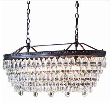 allen + roth Eberline 4-Light Oil-Rubbed Bronze Modern/Contemporary Crystal Tiered Chandelier