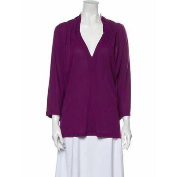 V-Neck Three-Quarter Sleeve Blouse Purple