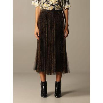 Roberto Cavalli Pleated Animalier Tulle Skirt