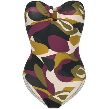 camouflage strapless swimsuit