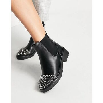 London Rebel chunky ankle boots with studs-Black
