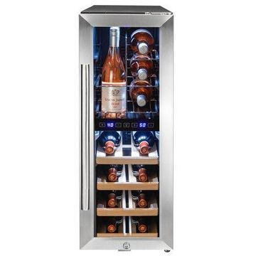 AKDY 16 Bottle Touch Panel Dual Zone Wire Shelves Freestanding Compressor Wine Cooler