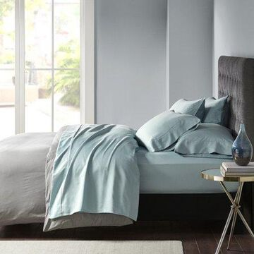 Comfort Classics 800 Thread Count Cotton Rich Sateen Sheet Set, Blue, King