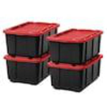 IRIS 4-Pack 1-Gallon (1-Quart) Black Tote with Latching Lid