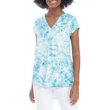 Cupio Women's Tie Dye Printed High Low Tunic Top -