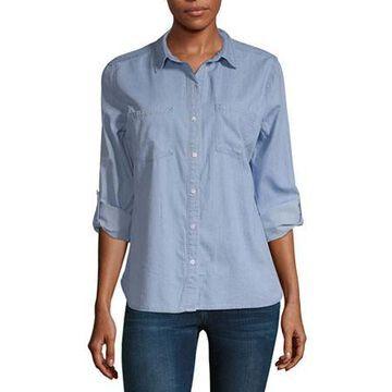 a.n.a Womens Long Sleeve Regular Fit Button-Front Shirt
