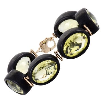 Roberto Coin Ipanema Womens Rose Gold Lemon Quartz and Black Wood 6 Oval Bracelet