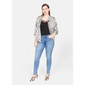 Violeta BY MANGO - Metallic trims jeans medium blue - 16 - Plus sizes