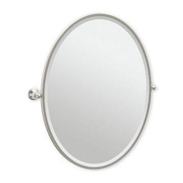 Gatco Laurel Ave 33-Inch x 28.75-Inch Oval Framed Mirror in Satin Nickel