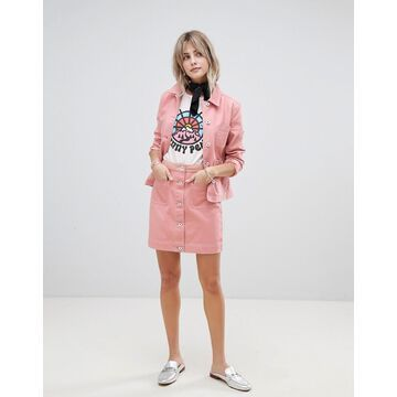 Maison Scotch skirt with workwear details and contrast stitching-Pink