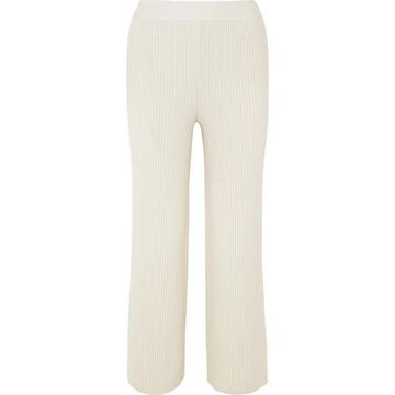 Markus Lupfer - Tilda Ribbed Wool And Cashmere-blend Straight-leg Pants - Off-white