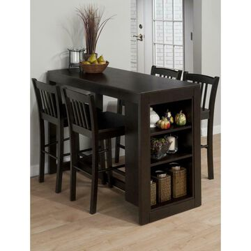 Tribeca Counter Height Dining Table with Shelving - Merlot