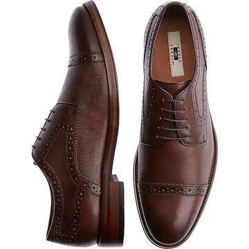 Joseph Abboud Men's Saffiano Tobacco Cap Toe Derbys Casual Shoes - Size: 12 D-Width