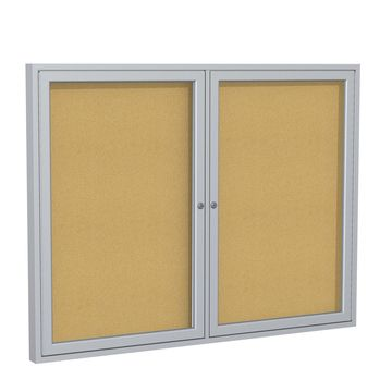 Ghent 2 Door Enclosed Natural Cork Bulletin Board with Satin Frame 3H x 5W