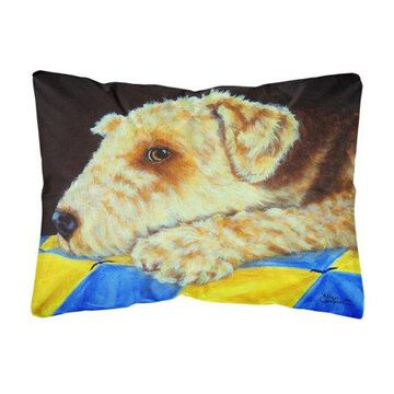 Airedale Terrier Momma's Quilt Fabric Decorative Pillow