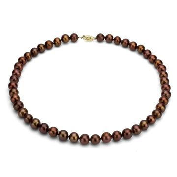 DaVonna 14k Yellow Gold 6-7mm Brown Freshwater Pearl Necklace