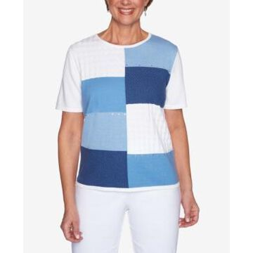 Alfred Dunner Women's Missy Classics Colorblock Short Sleeve Sweater